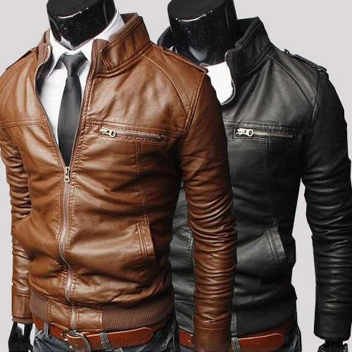 Free-Shipping-Motorbike-Leather-Jackets-Multiple-stripe-zippers-leather-Jacket-PU-Slim-Leather-Jacket-ColorBlackBrown-Size